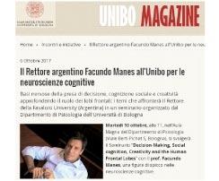 "Dr. Manes en la Universidad de Bolonia ""Il Rettore argentino Facundo Manes all'Unibo per le neuroscienze cognitive"""