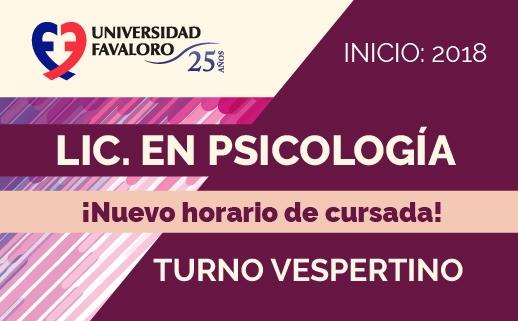 Lic. en Psicología: Nuevo turno vespertino